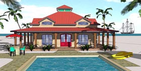 House Plan 72363 | Cottage Florida Southern Style Plan with 1225 Sq Ft, 1 Bedrooms, 2 Bathrooms Elevation