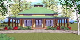 Cottage , Florida , Southern House Plan 72366 with 1 Beds, 2 Baths Elevation