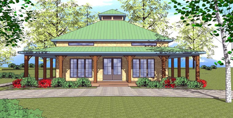 Cottage, Florida, Southern House Plan 72366 with 1 Beds, 2 Baths Elevation