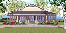 Cottage , Florida , Southern House Plan 72367 with 1 Beds, 2 Baths Elevation