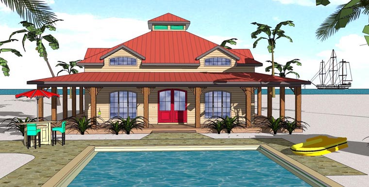 House Plan 72368 | Cottage Florida Southern Style Plan with 1225 Sq Ft, 1 Bedrooms, 2 Bathrooms Elevation
