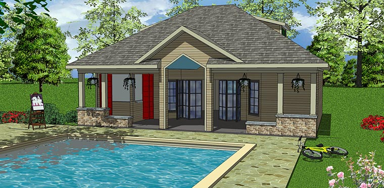 Contemporary, Cottage House Plan 72374 with 1 Beds , 1 Baths Elevation