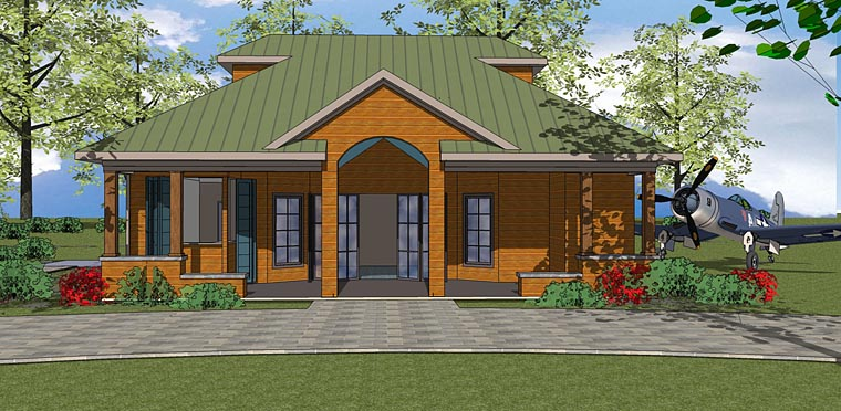 Contemporary House Plan 72377 with 1 Beds, 1 Baths Front Elevation