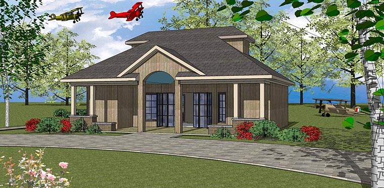 House Plan 72379 | Contemporary European Style Plan with 723 Sq Ft, 1 Bedrooms, 2 Bathrooms Elevation