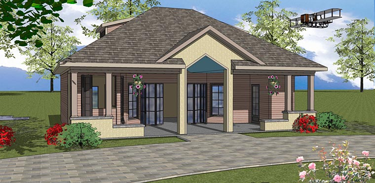 Contemporary, Cottage House Plan 72380 with 1 Beds, 2 Baths Front Elevation