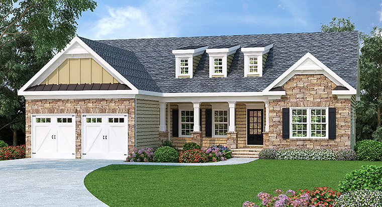 Ranch House Plan 72506 with 3 Beds, 2 Baths, 2 Car Garage Elevation