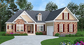 Ranch House Plan 72522 with 3 Beds, 2 Baths, 2 Car Garage Elevation