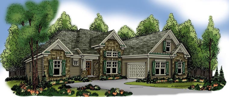 Ranch Elevation of Plan 72523