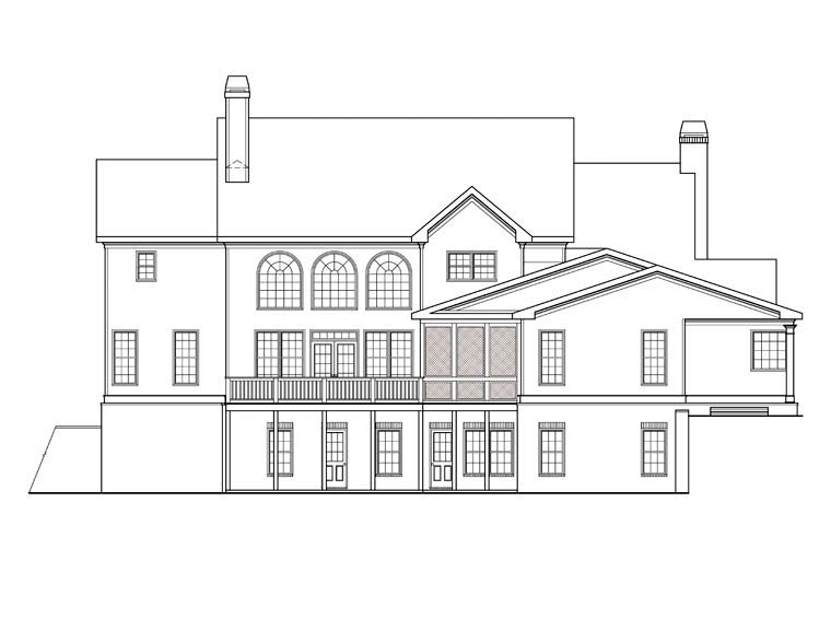 House Plan 72541 | Style Plan with 4416 Sq Ft, 5 Bedrooms, 5 Bathrooms, 3 Car Garage Rear Elevation