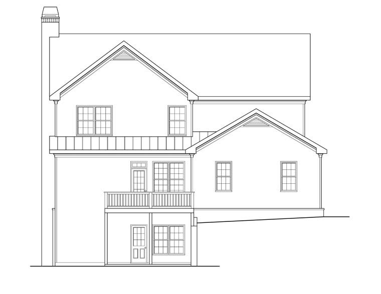 House Plan 72556 with 5 Beds , 4 Baths , 2 Car Garage Rear Elevation