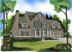 House Plan 72568 with 4 Beds, 3 Baths, 2 Car Garage Elevation