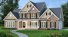 House Plan 72569 with 4 Beds, 3 Baths, 3 Car Garage Elevation