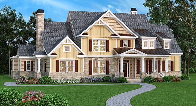 House Plan 72587 | Style Plan with 4405 Sq Ft, 5 Bedrooms, 5 Bathrooms, 3 Car Garage Elevation