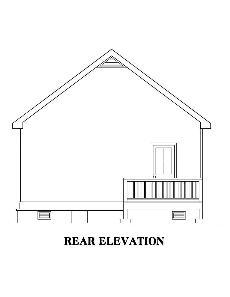 Ranch House Plan 72606 with 2 Beds, 1 Baths Rear Elevation