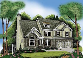 House Plan 72611 with 4 Beds, 4 Baths, 2 Car Garage Elevation