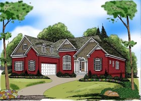 Ranch House Plan 72612 with 3 Beds, 2 Baths, 2 Car Garage Elevation