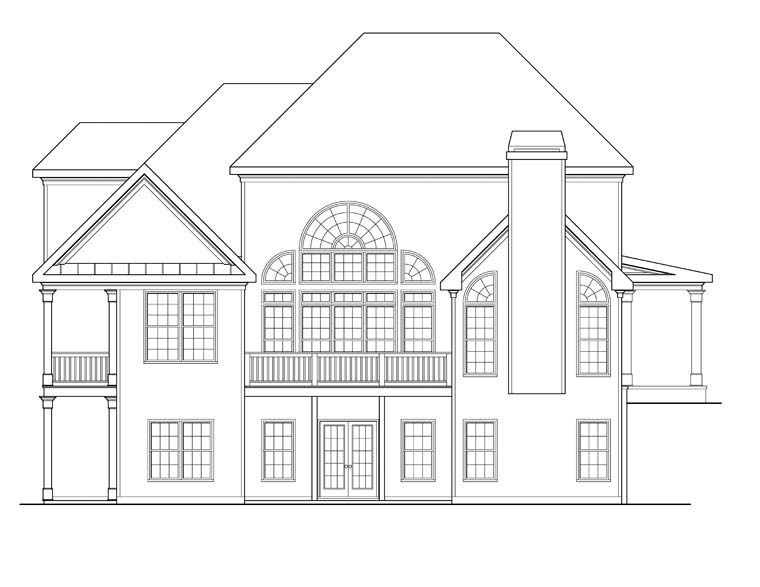 Rear Elevation of Plan 72617