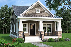 Ranch House Plan 72618 with 2 Beds, 1 Baths Elevation