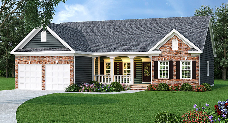 Ranch House Plan 72621 with 3 Beds, 2 Baths, 2 Car Garage Elevation