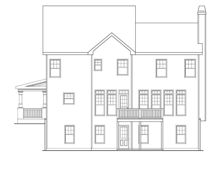 Rear Elevation of Plan 72637