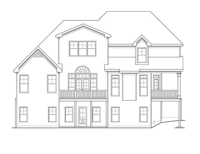 House Plan 72638 | Style Plan with 3167 Sq Ft, 4 Bedrooms, 3 Bathrooms, 2 Car Garage Rear Elevation