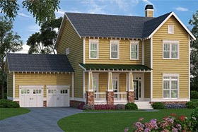Traditional , Farmhouse , Country , Colonial House Plan 72652 with 4 Beds, 3 Baths, 2 Car Garage Elevation