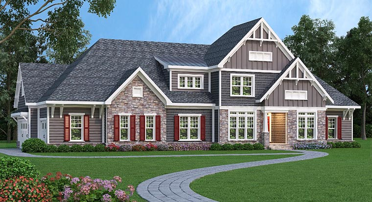 Country Craftsman Traditional House Plan 72664 Elevation