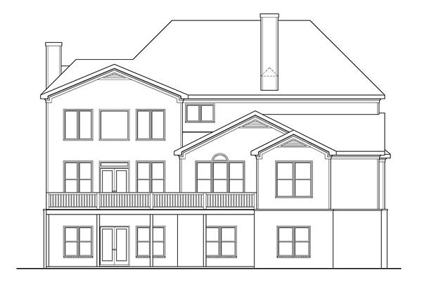 Country Craftsman Traditional House Plan 72666 Rear Elevation