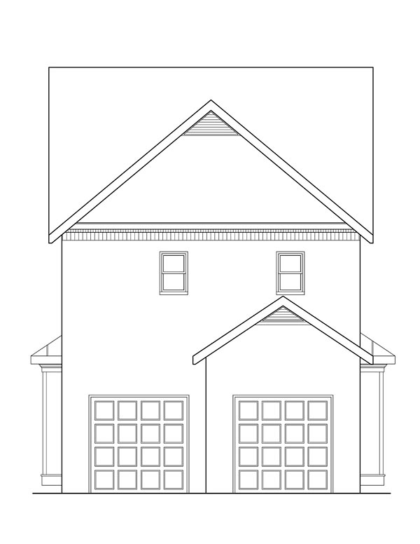 Country Craftsman Traditional Rear Elevation of Plan 72667