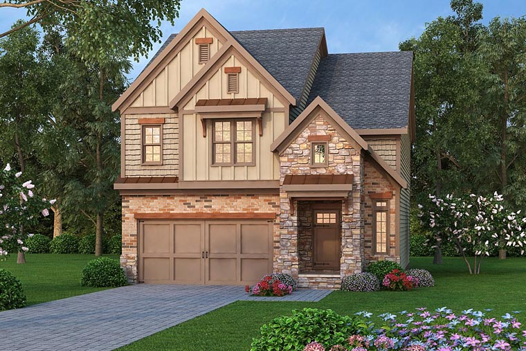 House Plan 72668 | Country Craftsman Tudor Style Plan with 2138 Sq Ft, 3 Bedrooms, 3 Bathrooms, 2 Car Garage Elevation
