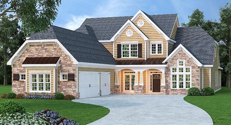 House Plan 72673 | Traditional Style Plan with 4268 Sq Ft, 4 Bedrooms, 6 Bathrooms, 3 Car Garage Elevation