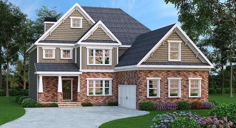 House Plan 72674 | Craftsman Traditional Style Plan with 2872 Sq Ft, 4 Bedrooms, 3 Bathrooms, 2 Car Garage Elevation