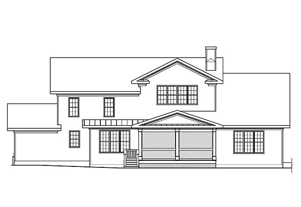 House Plan 72680 | Cape Cod Country Southern Traditional Style Plan with 3307 Sq Ft, 3 Bedrooms, 4 Bathrooms, 3 Car Garage Rear Elevation