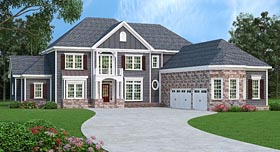 House Plan 72683 | Colonial Southern Style Plan with 4226 Sq Ft, 4 Bedrooms, 5 Bathrooms, 3 Car Garage Elevation