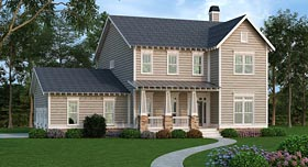 Colonial Country Farmhouse Southern House Plan 72687 Elevation