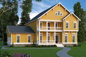 Country Craftsman Farmhouse Southern House Plan 72699 Elevation
