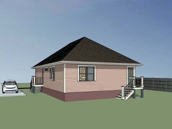 Bungalow House Plan 72700 with 3 Beds, 2 Baths Rear Elevation