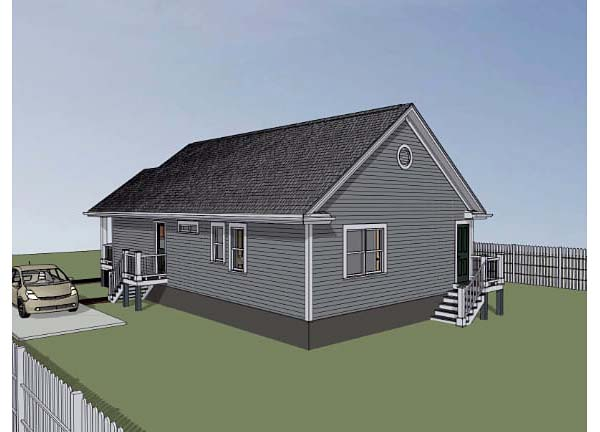 Bungalow House Plan 72702 with 3 Beds, 2 Baths Rear Elevation