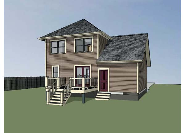 Bungalow House Plan 72705 with 3 Beds, 2 Baths, 1 Car Garage Rear Elevation