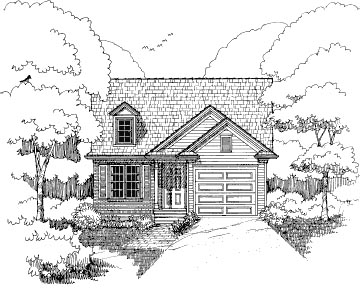 Bungalow House Plan 72707 with 2 Beds, 2 Baths, 1 Car Garage Elevation
