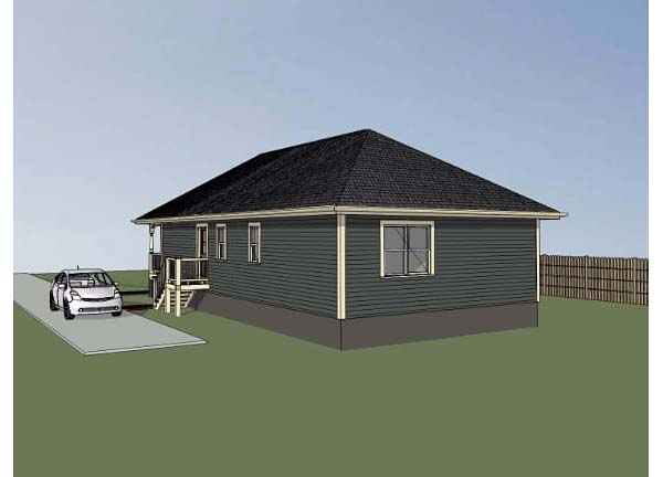 Bungalow , Rear Elevation of Plan 72708