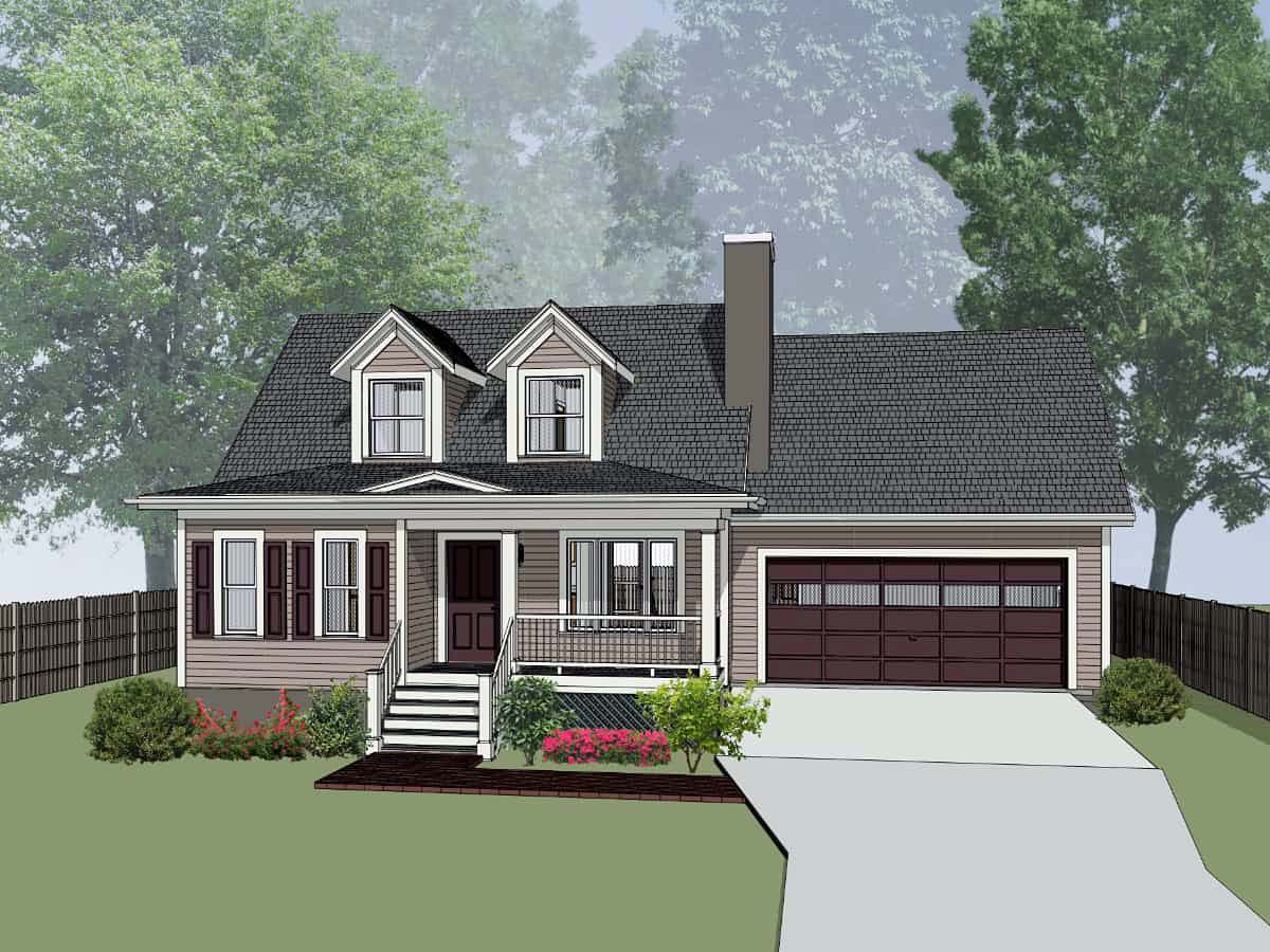 Bungalow House Plan 72725 with 3 Beds, 3 Baths, 2 Car Garage Elevation