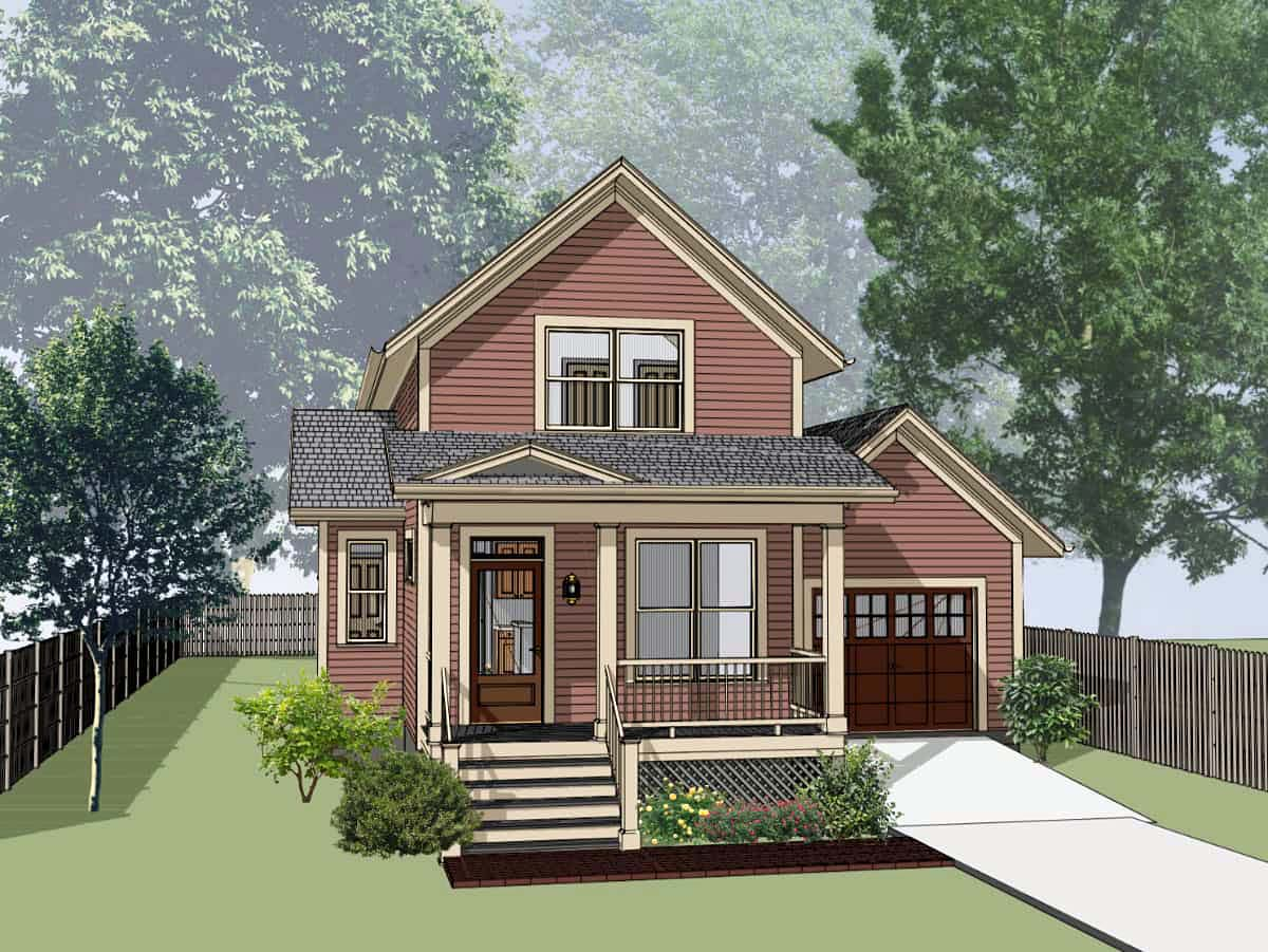 Bungalow House Plan 72729 with 3 Beds, 2 Baths, 1 Car Garage Elevation