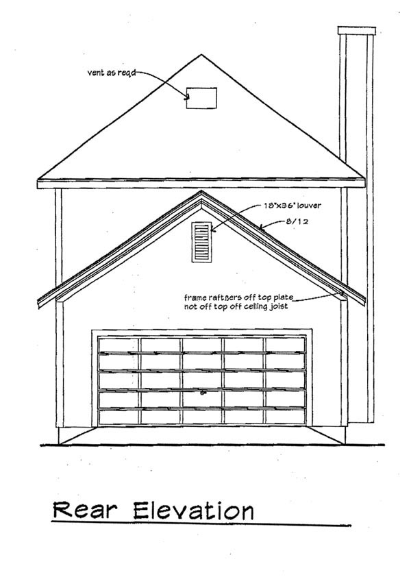 Bungalow House Plan 72731 with 3 Beds, 3 Baths, 2 Car Garage Rear Elevation