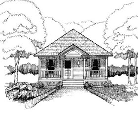 Bungalow House Plan 72775 with 2 Beds, 1 Baths Elevation