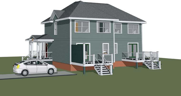Bungalow Multi-Family Plan 72777 Rear Elevation