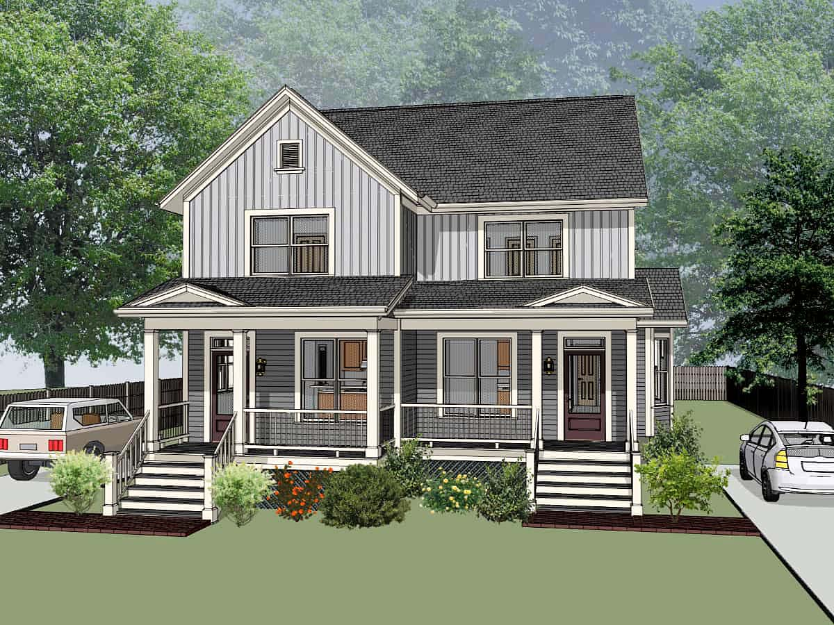 Bungalow Multi-Family Plan 72778 Elevation