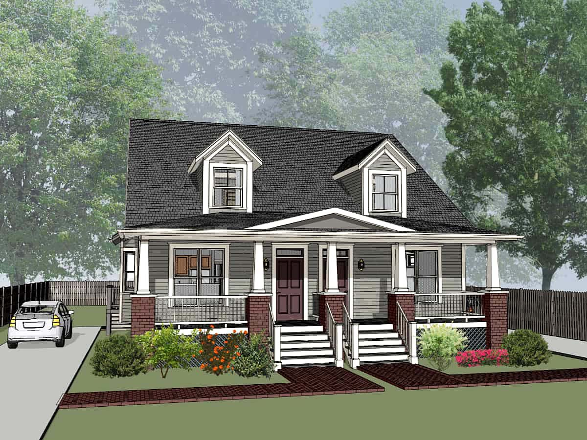 Bungalow Multi-Family Plan 72779 Elevation