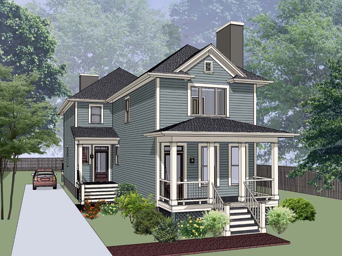 Bungalow Multi-Family Plan 72781 Elevation