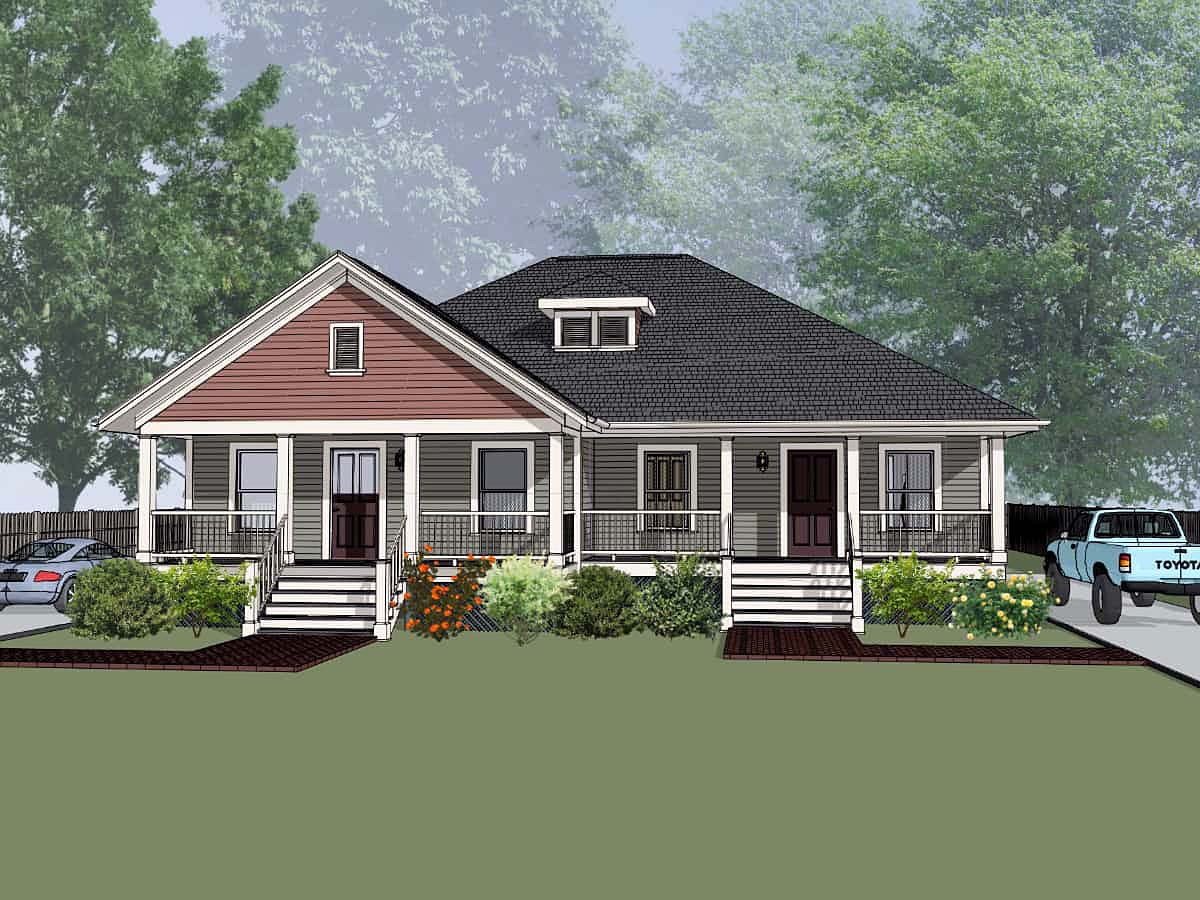 Bungalow Multi-Family Plan 72782 with 4 Beds, 2 Baths Front Elevation